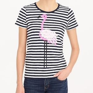 J. Crew Sequin Flamingo Striped Collection Tee, L